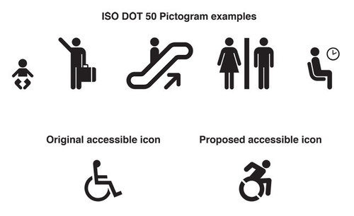 "You can see here the ISO DOT 50 standard icons you'd find all over the built environment: for elevators, restrooms, and more. Figures and limbs have rounded, organic ends, mimicking the look of human bodies. We think the new icon adheres to the logic of these standard icons in a complementary, legible way—an ""edit"" of the important original."